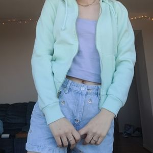 H&M BASICS HOODIE IN MINT